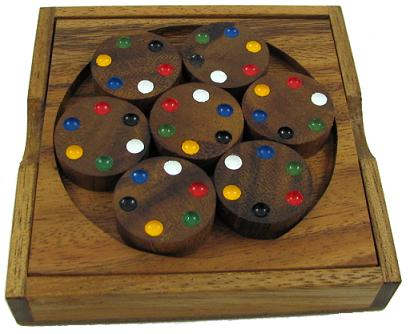 Circles color match brain teaser wood puzzle - Matching wood pieces of different colors ...