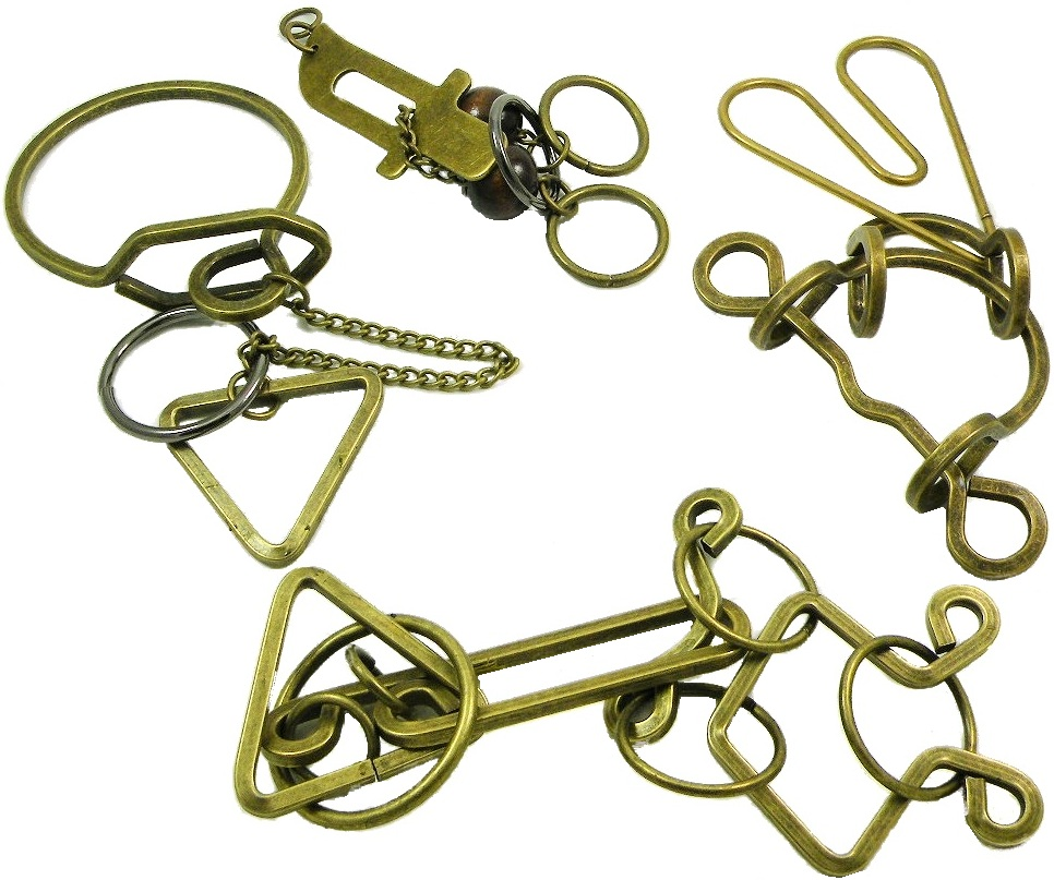 Metal Wire Puzzle Solutions : Wire metal puzzle set of four brass