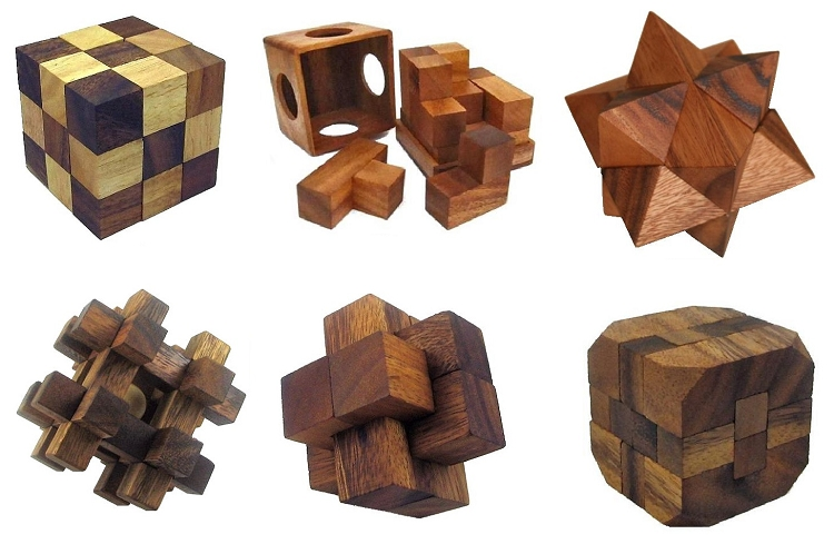 6 Wooden Puzzles Gift Set w/o Tray-108S-2-S