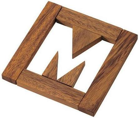 missing m puzzle wooden brain teaser
