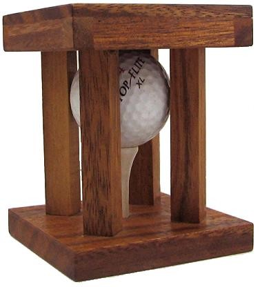 Caged Golf Ball - Clever Wooden Brain Teaser Puzzle