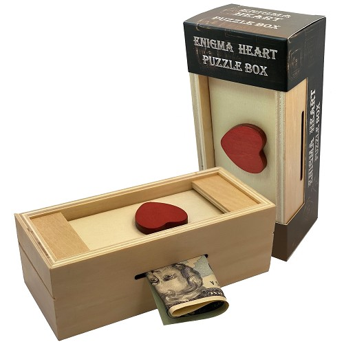 Enigma Heart Secret Puzzle Box - Money Gift Trick Box