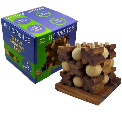 Tic-Tac-Toe 3D - Strategy Wooden Game